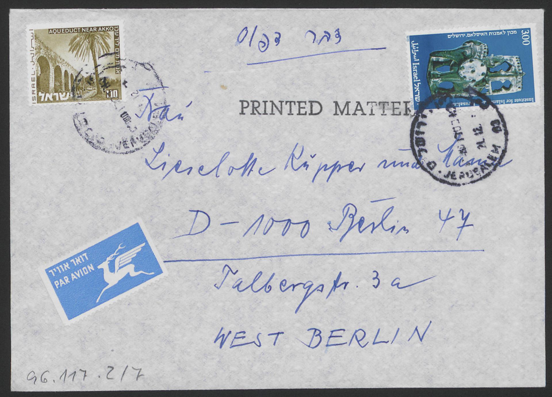 Envelope for a letter by Manfred Sturmann to Lieselotte Kupper