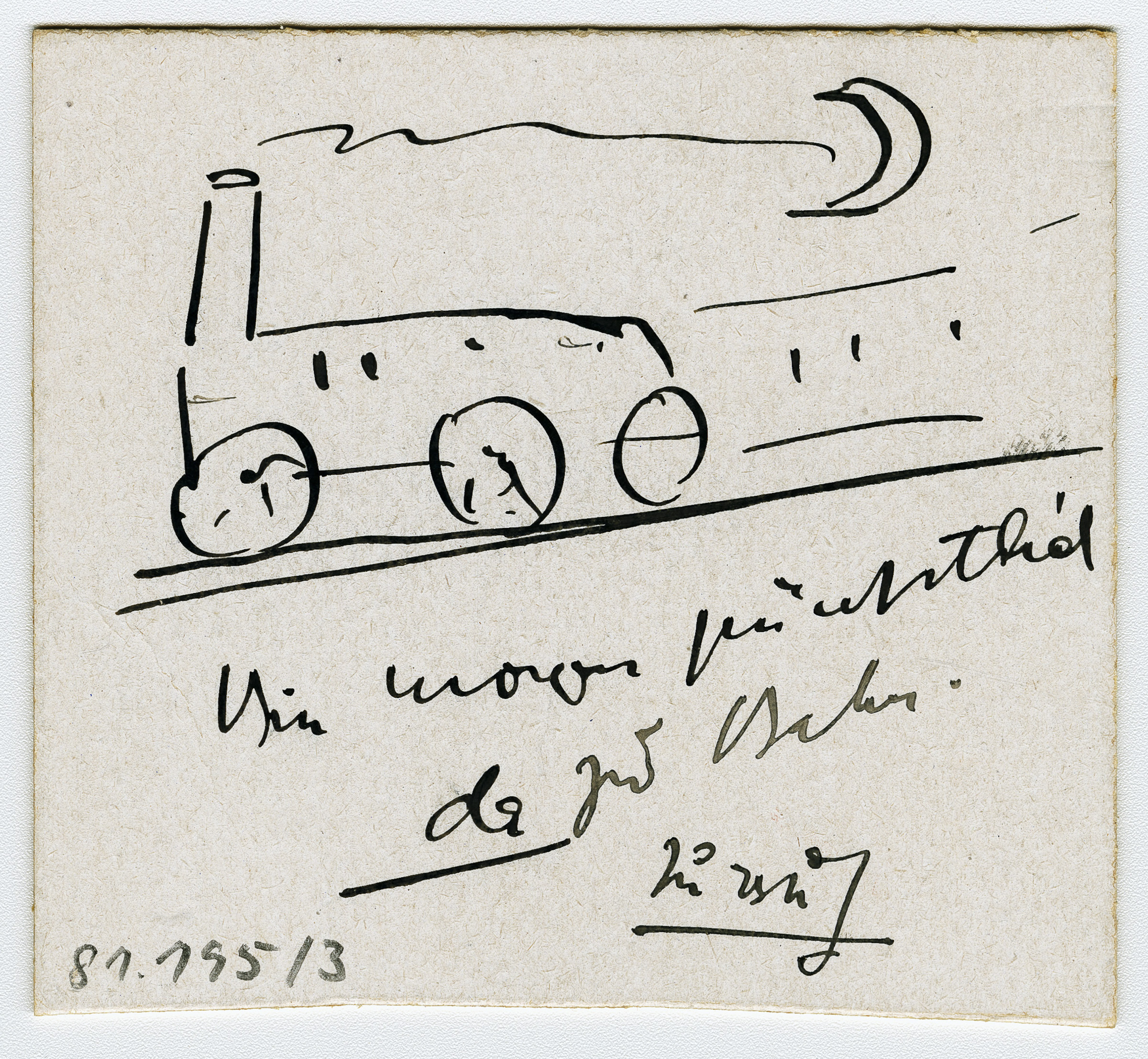 Drawing and note for Franz Marc